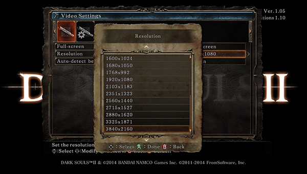 Dark Souls II in-game DSR resolution settings