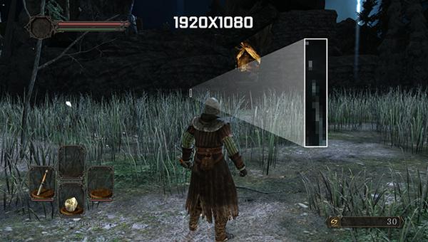 Начальная сцена в Dark Souls II без включения технологии DSR