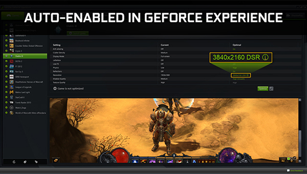DSR is Auto enabled in GeForce Experience