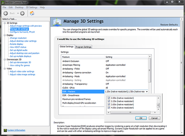 DSR scaling factors settings in the NVIDIA Control panel