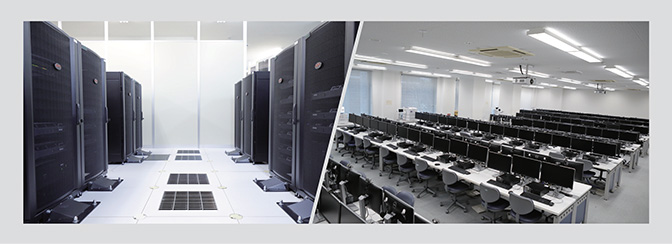 高知工科大学内のサーバーおよびワークステーション室の写真