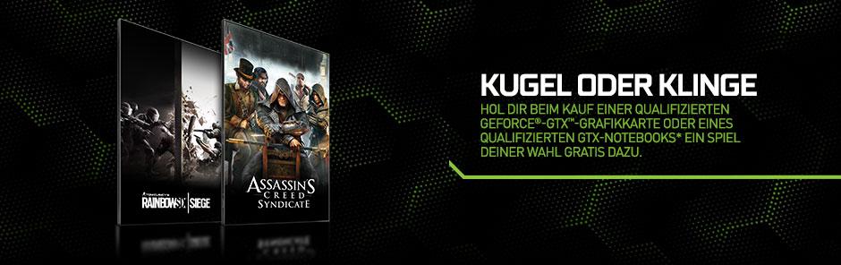 Hol dir beim Kauf einer qualifizierten GeForce®-GTX-Grafikkarte oder eines qualifizierten GTX-Notebooks* ein Spiel deiner Wahl GRATIS dazu.