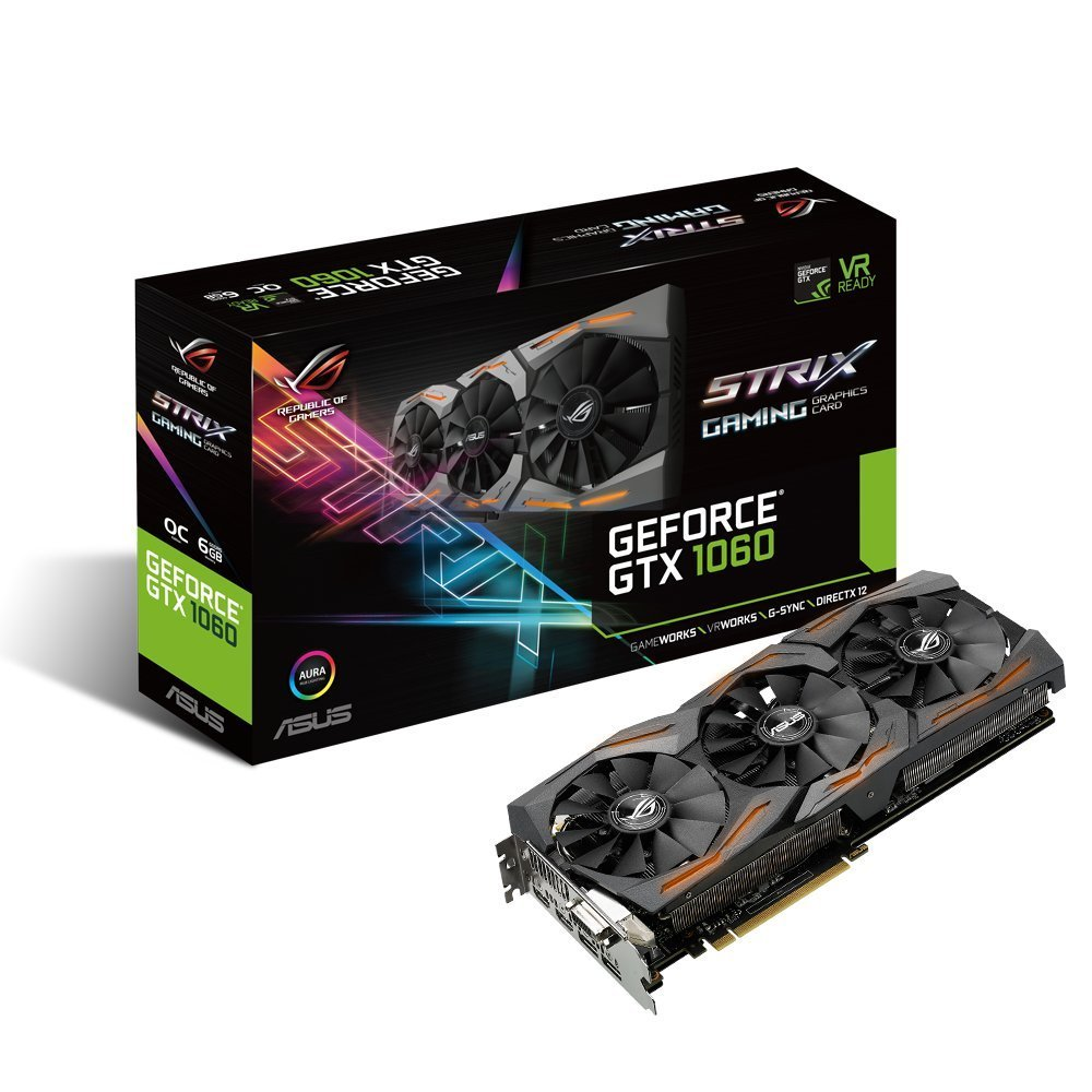 ASUS GeForce GTX 1060 6GB ROG STRIX OC Edition VR Ready Graphics Card |STRIX-GTX1060-O6G-GAMING