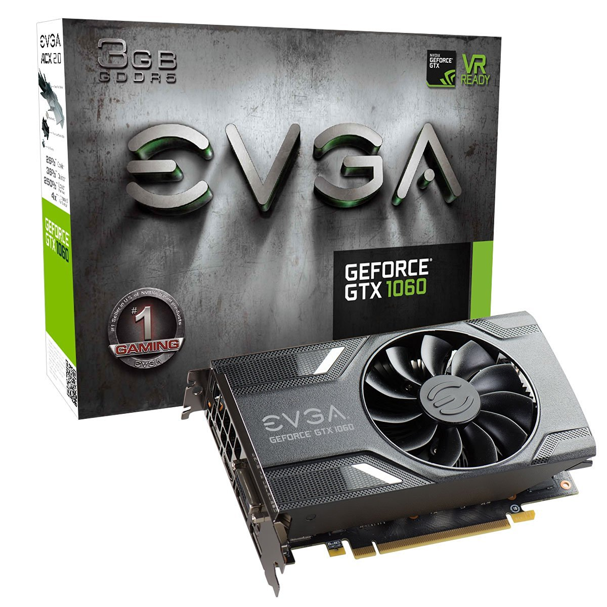 EVGA GeForce GTX 1060 3GB GAMING VR Ready Graphics Card | 03G-P4-6160-KR