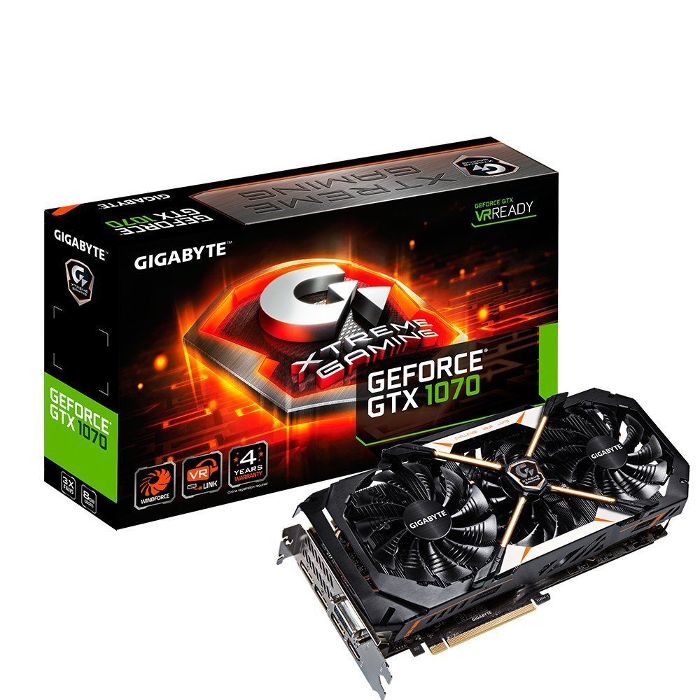 Gigabyte GeForce GTX 1070 8GB XTREME Gaming VR Ready Graphics Card | GV-N1070XTREME-8GD