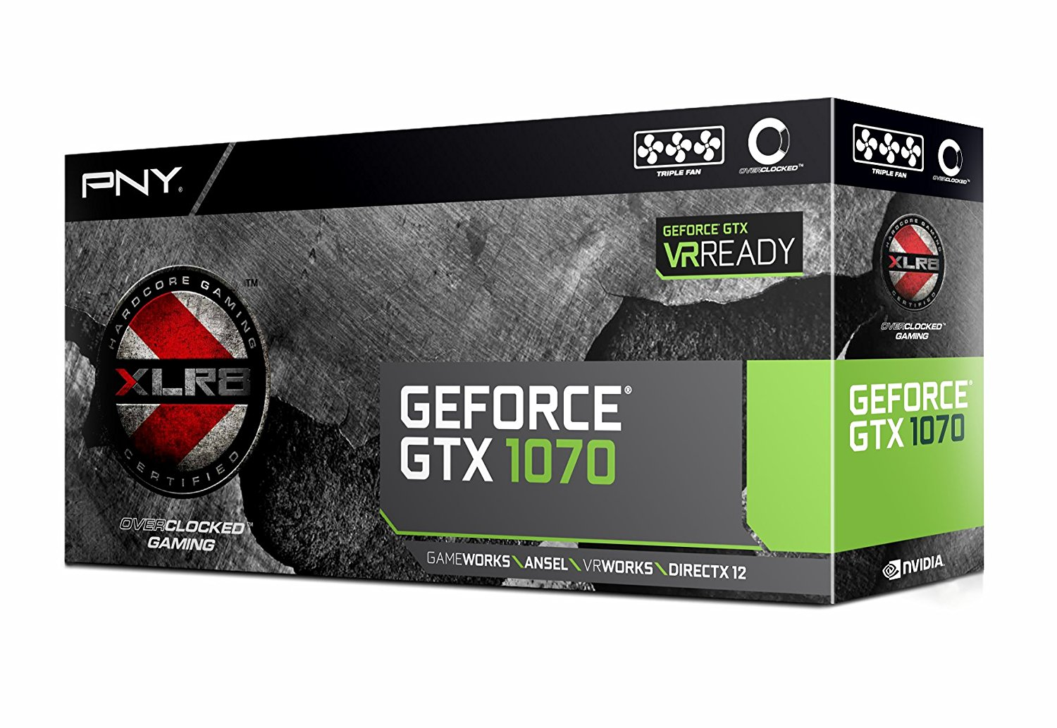 PNY GeForce GTX 1070 8GB XLR8 Gaming Overclocked Edition VR Ready Graphics Card | VCGGTX10708XGPB-OC