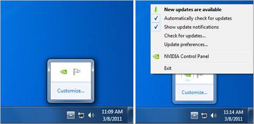 Configure Actualizador de NVIDIA - Bandeja del sistema de Windows