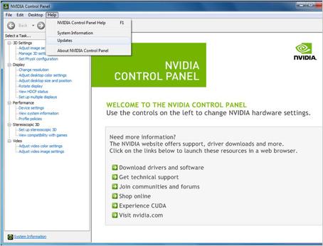 Configure NVIDIA Update - NVIDIA Control Panel