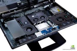 HP Z1 내부 부품 트레이 부감 이미지 (후드 오픈 상태, 클로즈업 이미지)