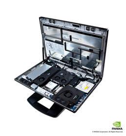 HP Z1 내부 부품 트레이 부감 이미지 (후드 오픈 상태)