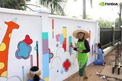 미술봉사활동중인 엔비디아 터치 비주얼 서포터즈와 김안과병원 캄보디아 봉사단