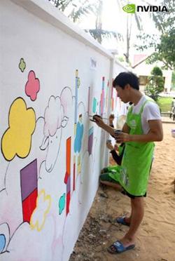 캄보디아 씨엠립 BWC 아동센터 벽화 작업중인 엔비디아 터치 비주얼 서포터즈
