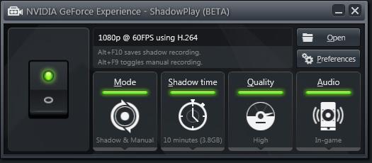 NVIDIA  GeForce Experience - Paramètres ShadowPlay