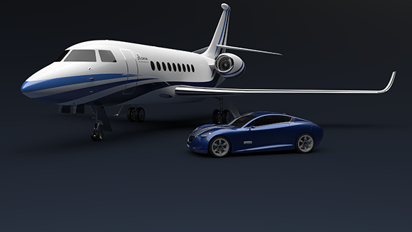 CATIA Jet and Bleu car