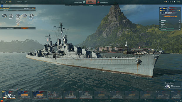 Here's how the Atlanta looks in port with just its dull ol' base grey paint scheme.