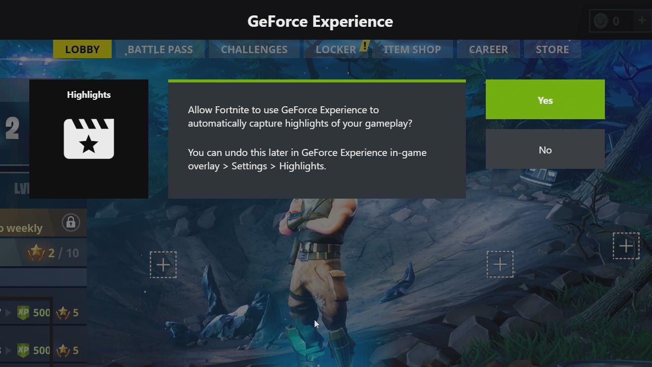 Fortnite Battle Royale Enable Nvidia Highlights Step