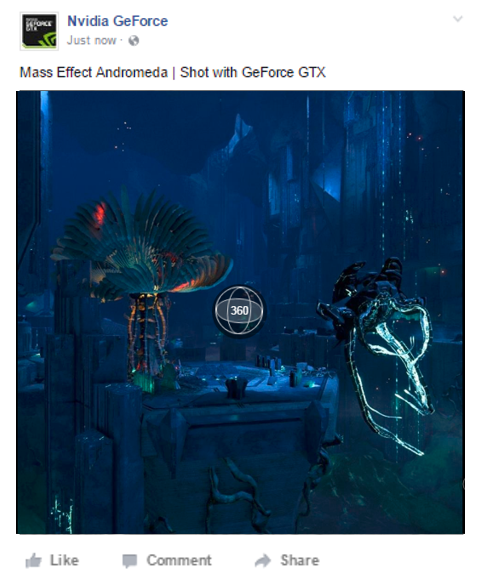 Upload screenshots and NVIDIA Ansel screenshots directly to your Facebook Timeline with GeForce Experience