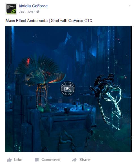 GeForce Experience で通常のスクリーンショットや NVIDIA Ansel スクリーンショットを Facebook のタイムラインに直接アップロード