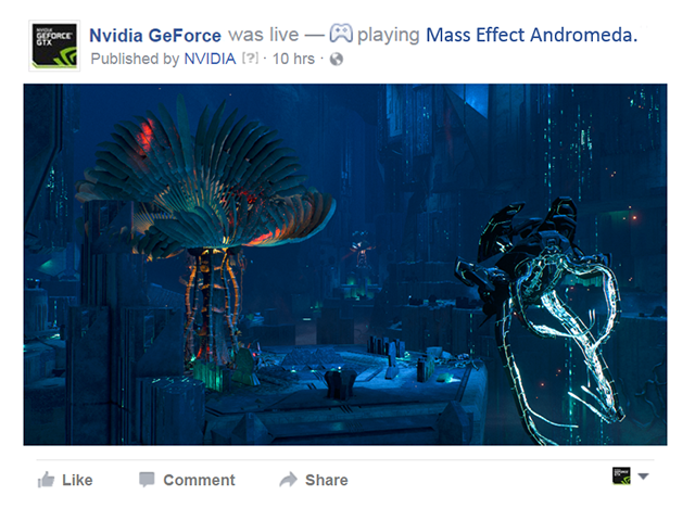 GeForce Experience でタイムラインにゲームプレイを直接配信、アップロードする