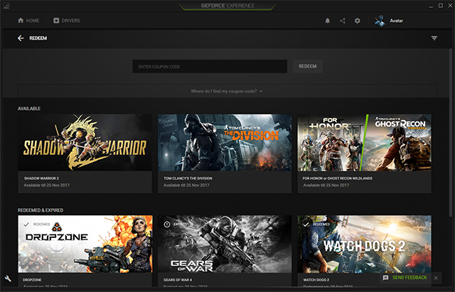 A future update will enable you to manage Rewards and Giveaways with ease in GeForce Experience