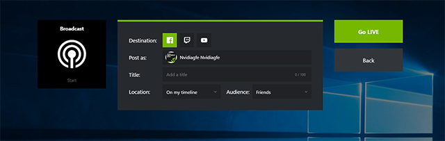 GeForce Experience 3.6: New, improved Broadcast setup