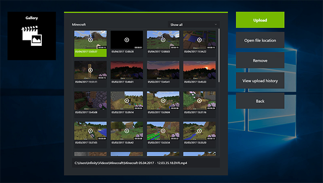 GeForce Experience 3.6: The new and improved Gallery page, with all your screenshots and videos
