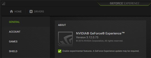 Opt-in to GeForce Experience's Experimental Features in Settings > General