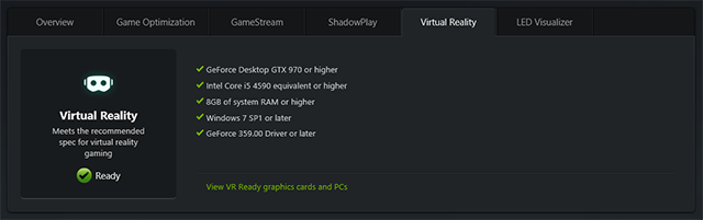 GeForce Experience: Is Your PC VR-Ready?