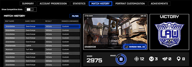 ShadowPlay Highlights in LawBreakers: You can also access Highlights via the 'Match History' screen located in the main menu 'Profile' option