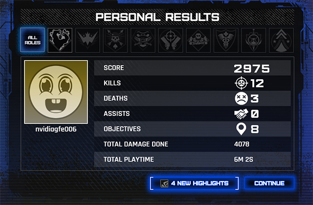 NVIDIA Highlights in LawBreakers: The post-match results screen gives you an opportunity to review your Highlights by clicking the highlighted button