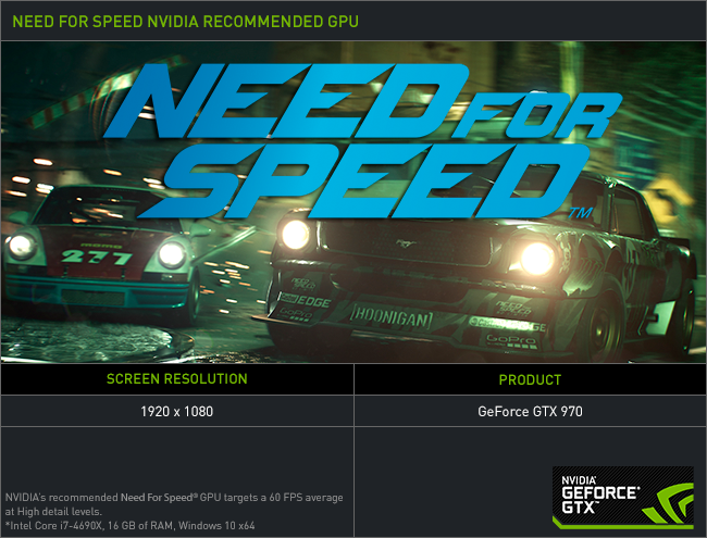 Need For Speed PC Recommended Graphics Cards