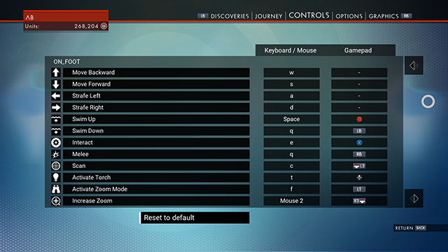 No Man's Sky PC Control Options