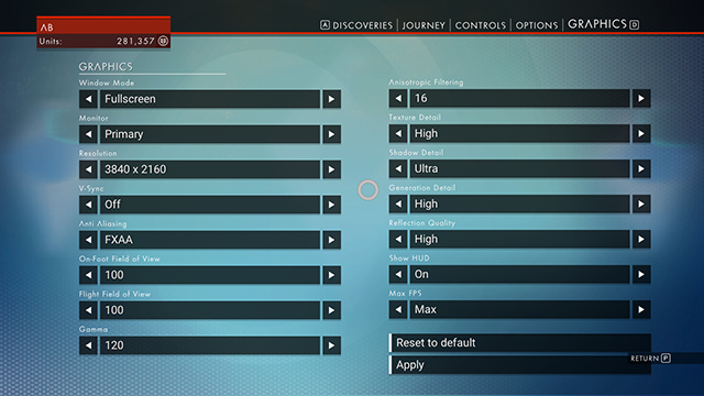 No Man's Sky PC Graphics Options