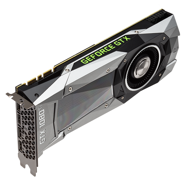 NVIDIA GeForce GTX 1080 Ti: Angled photo of the GTX 1080 Ti, showing the cooler and new high-airflow design