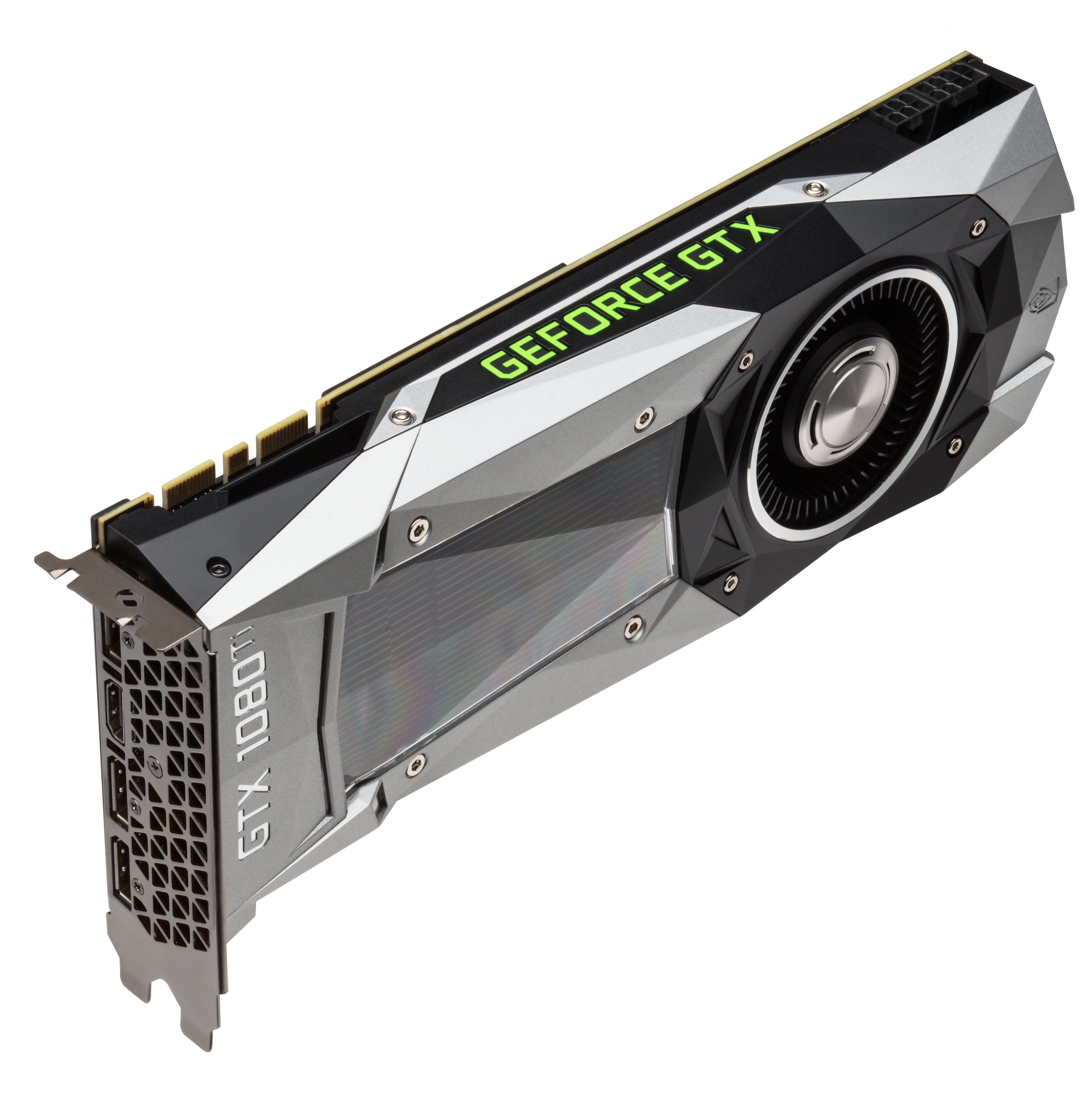 NVIDIA GeForce GTX 1080 Ti: Angled photo of the GTX 1080 Ti, showing the