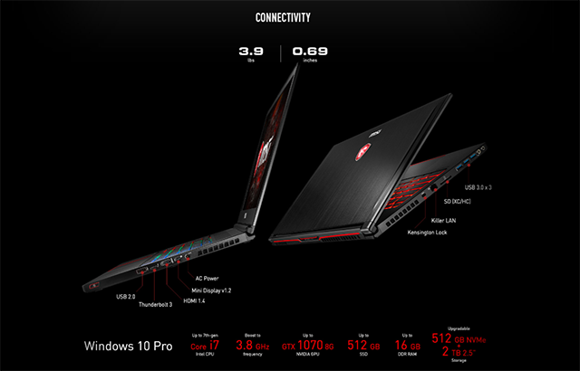NVIDIA GeForce GTX Max-Q Design Philosophy Laptops: MSI GS63VR Specs & I/O