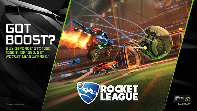 NVIDIA GeForce GTX 'Got Boost?' Rocket League Bundle - Get Rocket League for free with eligible GeForce GTX 1060, 1050 Ti and 1050 graphics cards, systems and laptops at participating retailers and e-tailers