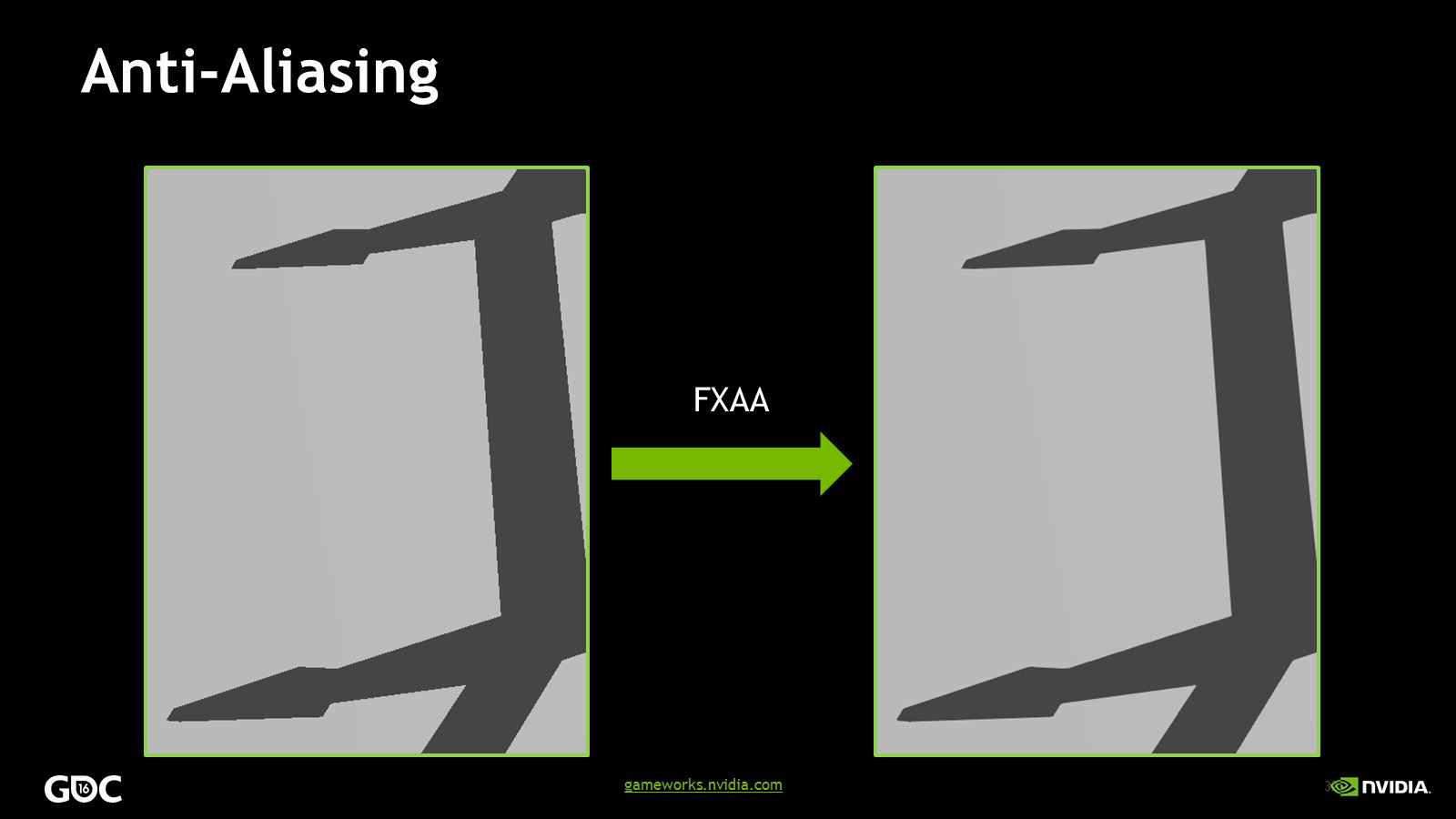 Post-Process Anti-Aliasing is applied to remove aliasing from the edges of shadows
