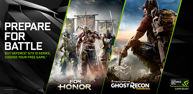 NVIDIA Prepare For Battle 'For Honor' and 'Tom Clancy's Ghost Recon Wildlands' GeForce GTX 1070 and GeForce GTX 1080 Bundle