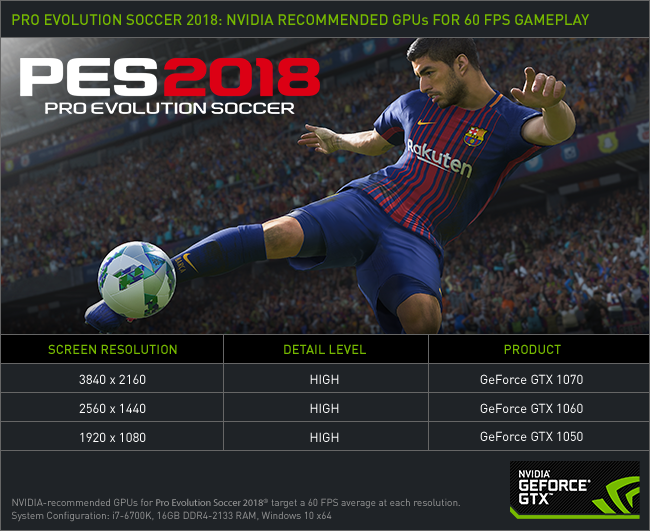 Pro Evolution Soccer 2018 60 FPS NVIDIA GeForce GTX Recommended Graphics Cards