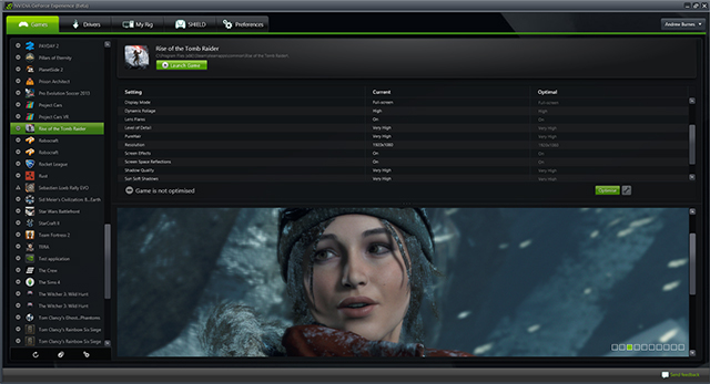 Rise of the Tomb Raider GeForce Experience Support
