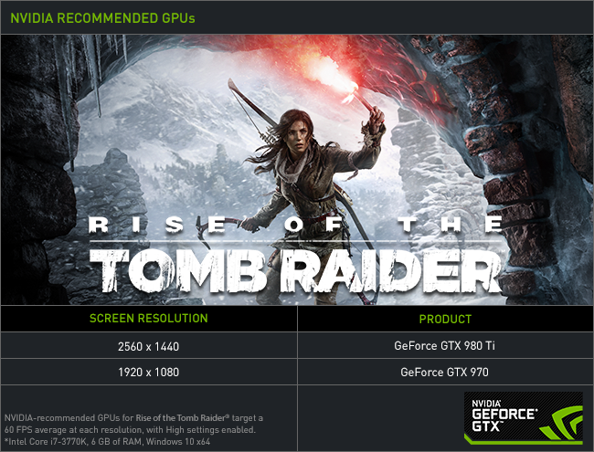 NVIDIA & Square Enix's Rise of the Tomb Raider Recommended GPUs
