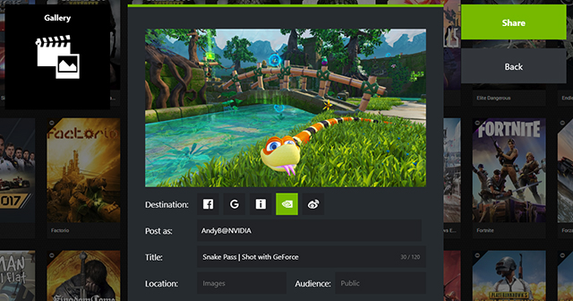 Open the GeForce Experience Gallery with Alt+Z and you'll be able to post any NVIDIA Ansel in-game photo directly to the Shot With GeForce website