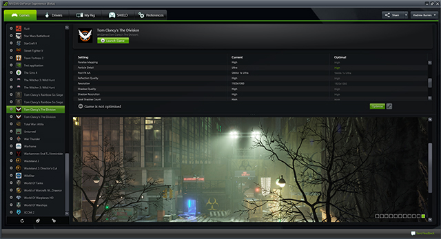 Tom Clancy's The Division GeForce Experience Support