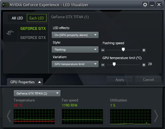 GeForce Experience 的 NVIDIA GeForce GTX LED 顯示模組 - GPU 警報
