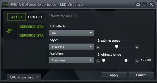 GeForce Experience 的 NVIDIA GeForce GTX LED 顯示模組 - 全部 LED (All LEDs) 模式