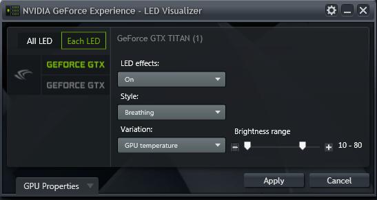 GeForce Experience 的 NVIDIA GeForce GTX LED 顯示模組 - 每個 LED (Each LED) 模式