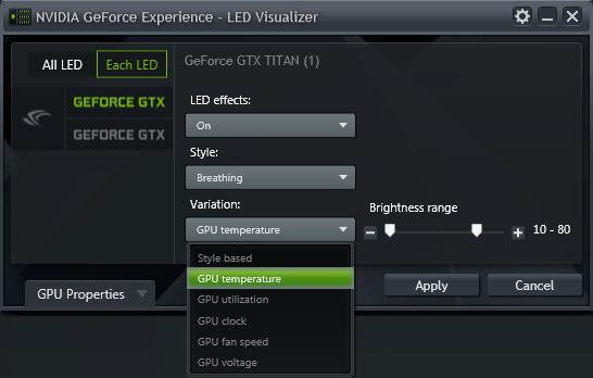 GeForce Experience 的 NVIDIA GeForce GTX LED 顯示模組 - 變化 (Variation) 的下拉式選單