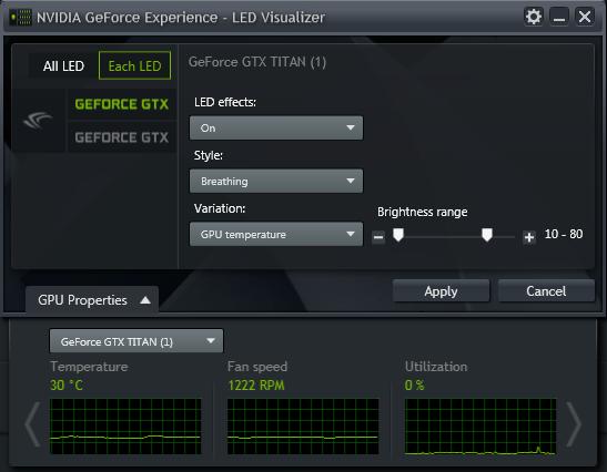 GeForce Experience 的 NVIDIA GeForce GTX LED 顯示模組 - GPU 屬性的視窗
