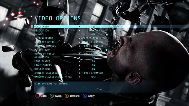 Batman: Arkham Origins running at max settings on a GeForce GTX TITAN SLI PC.
